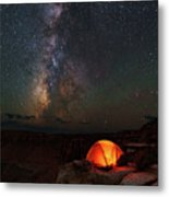 Starlight Camping On The Canyon Edge Metal Print