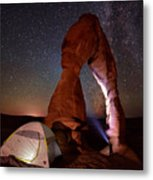 Starlight Tent Camping At Delicate Arch Metal Print