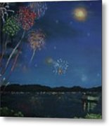 Starry Night At Crooked Creek Marina Metal Print
