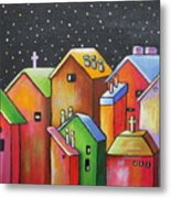 Starry Night In The Little City 1 Metal Print