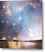 Starry Night Over A Mountain Lake Fantasy Metal Print