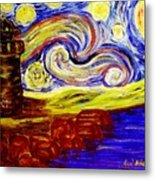 Starry Night Over Nubble Lighthouse  Metal Print