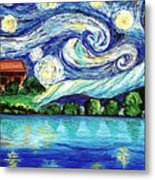 Starry Night Over The Lake Metal Print