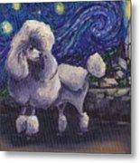 Starry Night Poodle Metal Print