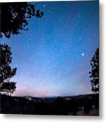 Starry Rocky Mountain Forest Night Metal Print