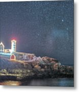 Starry Sky Of The Nubble Light In York Me Cape Neddick Metal Print