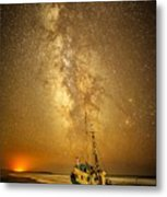 Stars Over Fishing Boat Metal Print