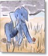 Startled Elephant Metal Print
