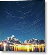 Startrails Above Reine Metal Print