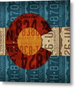 State Flag Of Colorado Recycled License Plate Art Metal Print