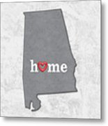 State Map Outline Alabama With Heart In Home Metal Print