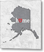 State Map Outline Alaska With Heart In Home Metal Print