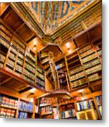 Stately Library Metal Print