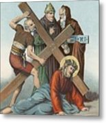 Station Ix Jesus Falls Under The Cross The Third Time Metal Print