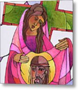 Stations Of The Cross - 06 St. Veronica Wipes The Face Of Jesus - Mmvew Metal Print