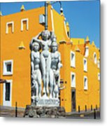 Statue And Yellow Theater Metal Print