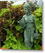Statue At Kelly Gardens Chuckatuck Metal Print