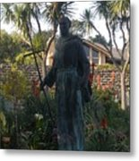 Statue At Mission Carmel Metal Print
