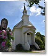 Statue At St. Mary's Church Metal Print