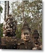 Statue Heads Ankor Thom Metal Print