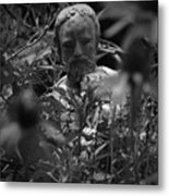 Statue In Flowers Metal Print