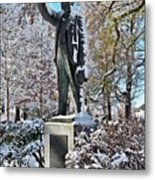 Statue In The Snow Metal Print