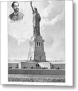 Statue Of Liberty And Bartholdi Portrait Metal Print by War Is Hell Store