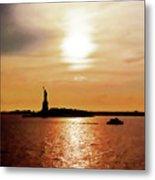 Statue Of Liberty At Sunset Metal Print