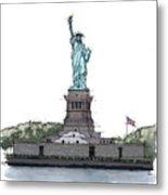 Statue Of Liberty, New York Sketch Metal Print