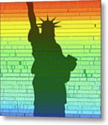 Statue Of Liberty Rainbow Metal Print