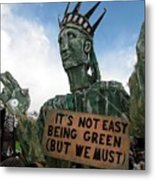 Statue Of Liberty Street Puppet At Political Demonstration Metal Print