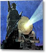 Statue Of Liberty With Steam Train, We Shall Not Fail Metal Print
