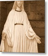 Statue Of Mary At Sacred Heart In Tampa Metal Print