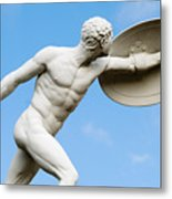Statue Of Nude Man With Shield And Dagger Metal Print