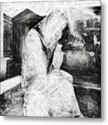 Statue Of Weeping Woman, Lafayette Cemetery, New Orleans In Black And White Sketch Metal Print