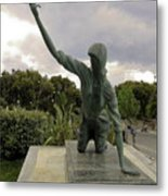 Statue Of Woman Crawling On Marble Street Metal Print