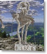 Statue On The Rocks  Metal Print