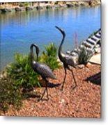 Statueque Cranes Metal Print