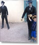 Statues Depicting Shooters In O.k. Corral Gunfight Tombstone Arizona 2004 Metal Print