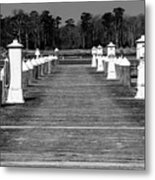 Stay Between The Lines Bw Metal Print