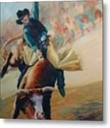 Staying In The Middle Rodeo Bucking Bull Metal Print