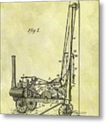 Steam Powered Oil Well Patent Metal Print
