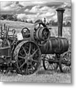 Steam Powered Tractor - Paint Bw Metal Print