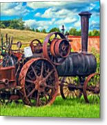 Steam Powered Tractor - Paint Metal Print