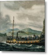 Steamboat Travel On The Hudson River Metal Print