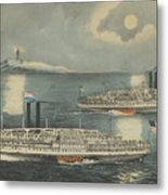 Steamboats Passing At Midnight On Long Island Sound Metal Print
