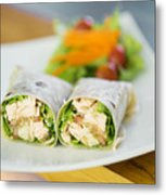 Steamed Salmon And Salad Wrap Metal Print