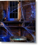 Steaming Cauldron In A Witch Cabin Metal Print