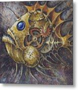 Steampunk Fish A Metal Print