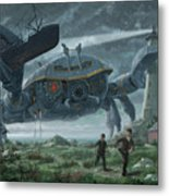 Steampunk Giant Crab Attacks Lighthouse Metal Print